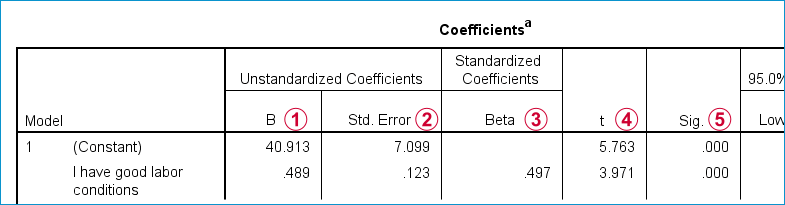 SPSS Cursus Regressie - Coefficients Table